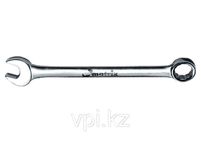 Рожково-накидной ключ с трещеткой, зеркальный хром, 19мм Matrix