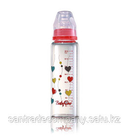 Стеклянная бутылочка 240мл+нагрудник