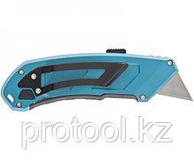 Нож 130 мм, алюм. корпус, выдв. трапец. лезвие 18 мм (SK-5), клипса для ремня + 4 лезвия// GROSS, фото 3