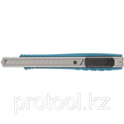 Нож 130 мм, метал. корпус, выдв.сегм.лезвие 9 мм (SK-5), метал. направ-щая, клипса для ремня// GROSS, фото 2
