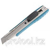 Нож 160 мм, метал.корпус, выдв. сегм. лезвие 18 мм (SK-5), метал. напр-щая, клипса для ремня// GROSS, фото 2