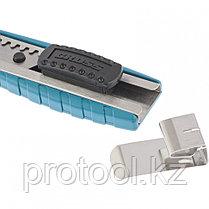 Нож 160 мм, метал.корпус, выдв. сегм. лезвие 18 мм (SK-5), метал. напр-щая, клипса для ремня// GROSS, фото 3