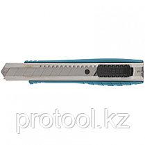 Нож 195 мм, метал.корпус, выдв. сегм. лезвие 25 мм (SK-5), метал. напр-щая, клипса для ремня// GROSS, фото 2