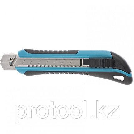 Нож 170 мм, обрезин. ABS - корпус, выдв.сегм.лезвие 18 мм (SK-5), метал. напр-щая + 5 лезвий// GROSS, фото 2