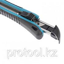Нож 170 мм, обрезин. ABS - корпус, выдв.сегм.лезвие 18 мм (SK-5), метал. напр-щая + 5 лезвий// GROSS, фото 3