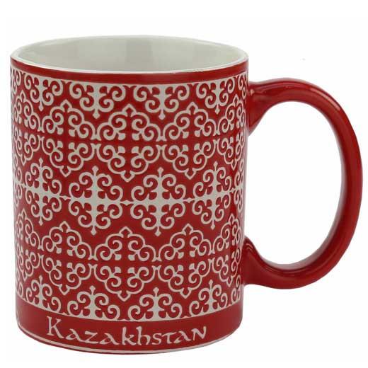 Кружка с изображением казахского национального орнамента, цвет:красный