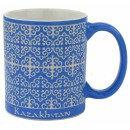 Кружка с изображением казахского национального орнамента, цвет:синий