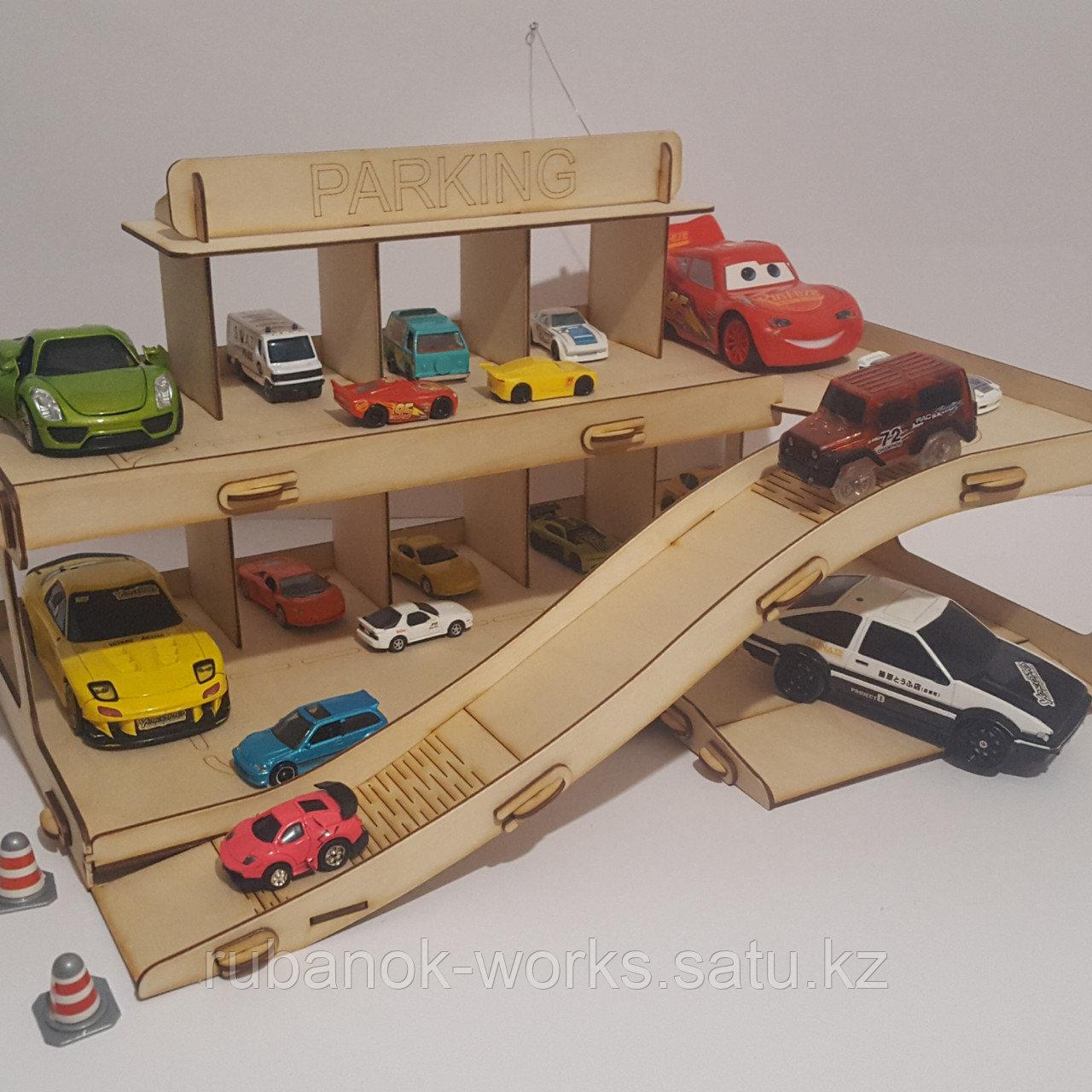 Гараж для машинок с именем, Парковка, Паркинг для машинок 2х этажный