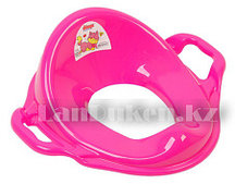 Накладка детская для унитаза с ручками 11107 (розовая)
