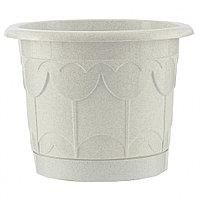 Горшок Тюльпан с поддоном, мрамор, 8,5 литра PALISAD