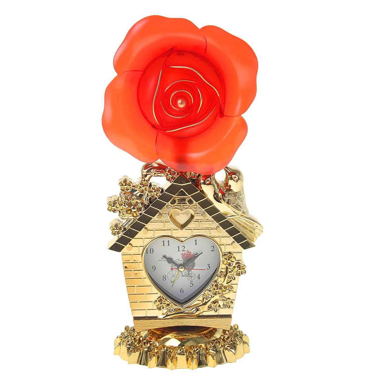 """Часы-светильник """"Красная/розовая роза и домик"""", циферблат в виде сердечка, 34х16х11 см"""