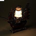 Часы светильник Кораблик коричневая корма 6 парусов, 34*34*8 см., фото 3