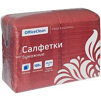 """Салфетки бумажные OfficeClean """"Profi Pack"""", 1 слойн., 24*24см, красные, 400шт."""