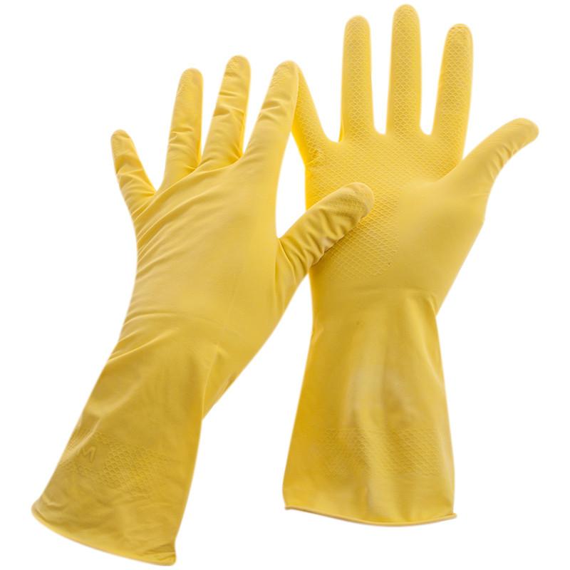 Перчатки резиновые OfficeClean хозяйственные, р.S, желтые, пакет с европодвесом