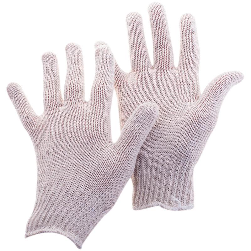 Перчатки х/б  7,5 класс OfficeClean, стандарт,без покр.,4 нитки, 2-й оверлок, белый, 35-37г, 166текс