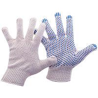 Перчатки х/б 10 класс OfficeClean, стандарт,с точ. ПВХ,4 нитки,2-й оверлок, белый, 43-45г, 116текс
