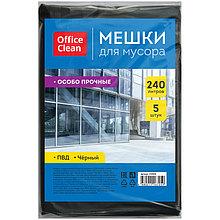 Мешки для мусора 240л OfficeClean ПВД, 5шт., особо прочные, черные, в пластах