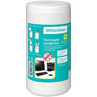Салфетки чистящие влажные OfficeClean, универсальные, антибактериальные, в тубе, 100шт.
