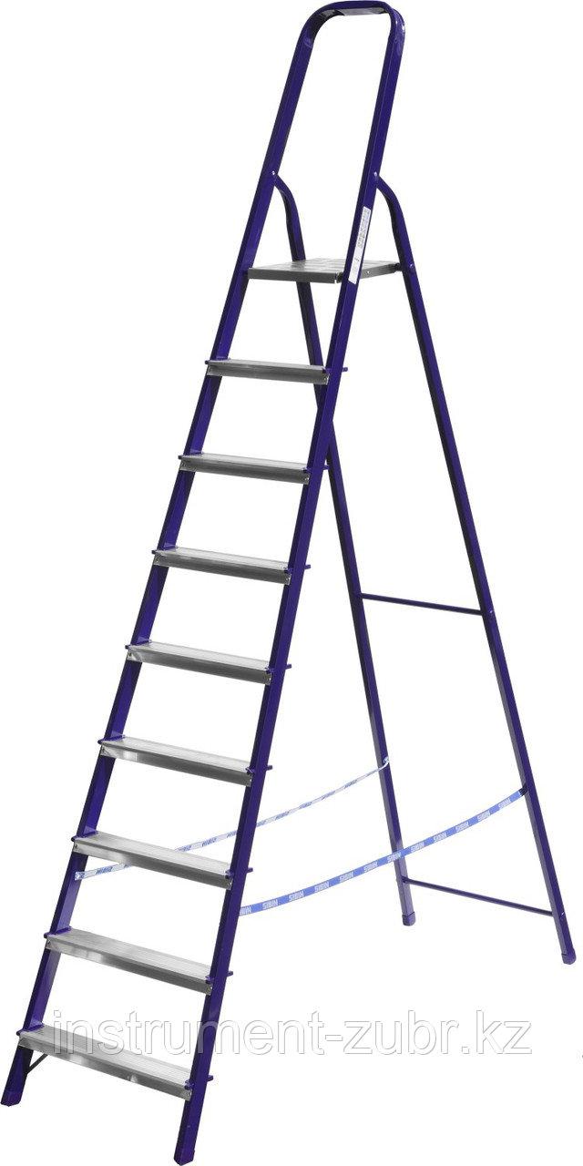 Лестница-стремянка СИБИН стальная, 9 ступеней, 187см