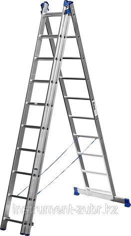 Лестница СИБИН универсальная, трехсекционная со стабилизатором, 10 ступеней, фото 2