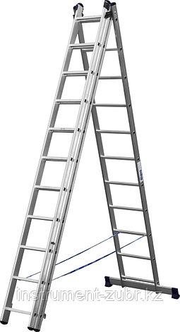 Лестница СИБИН универсальная,трехсекционная со стабилизатором, 11 ступеней, фото 2
