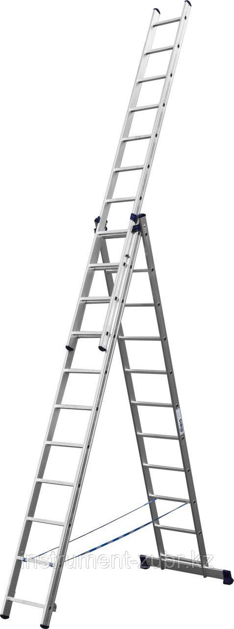 Лестница СИБИН универсальная,трехсекционная со стабилизатором, 11 ступеней