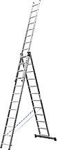 Лестница СИБИН универсальная, трехсекционная со стабилизатором, 12 ступеней