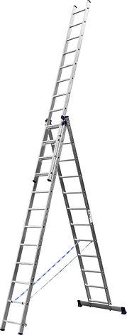 Лестница СИБИН универсальная,трехсекционная со стабилизатором, 12 ступеней, фото 2