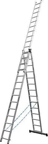 Лестница СИБИН универсальная,трехсекционная со стабилизатором, 14 ступеней, фото 2