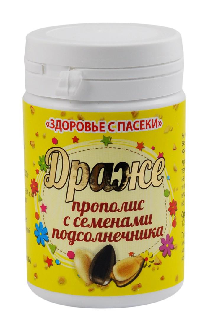 """Драже """"Здоровье пасеки"""" прополис с семенами подсолнечника,  60 гр"""