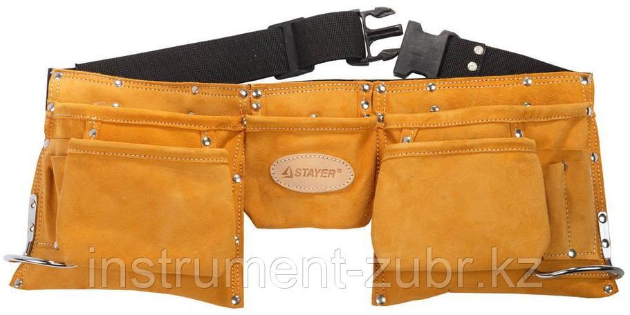 Пояс STAYER PROFESSIONAL для инструментов, кожаный, 11 карманов, 2 скобы                                                , фото 2