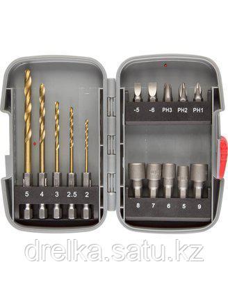 Набор бит для шуруповерта ЗУБР 26055-H15, насадки для шуруповерта и дрели, биты, торцовые головки, биты-сверла