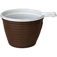 Чашки одноразовые для кофе OfficeClean, эконом, ПП, бело-коричневые, 180мл, хол/гор, уп. 50шт.