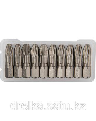 Биты для шуруповерта KRAFTOOL 26123-3-25-10, торсионная кованая, обточенная, Cr-Mo сталь, тип хвостовика C 1/4