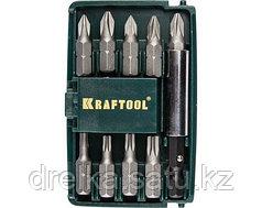 Набор бит для шуруповерта KRAFTOOL 26130-H10, биты с магнитным адаптером в мини бит-боксе, 10 предметов