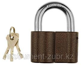 """Замок навесной ЗУБР """"МАСТЕР"""" общего применения, дисковый механизм секрета, ключ 7 PIN, дужка d-14мм, 80мм"""