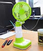 Настольный мини USB вентилятор с аккумулятором и LED лампой YX-108 зеленый