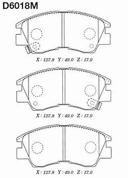 Тормозные колодки Mitsubishi D6018 Pajero II; Delica P0#W-P3#W 2,5D 1989-1997 передние