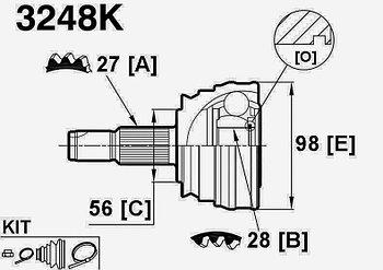 ШРУСы(граната) Alfa romeo 3248K Alfa romeo 164 1987-1992 наружный правый и левый