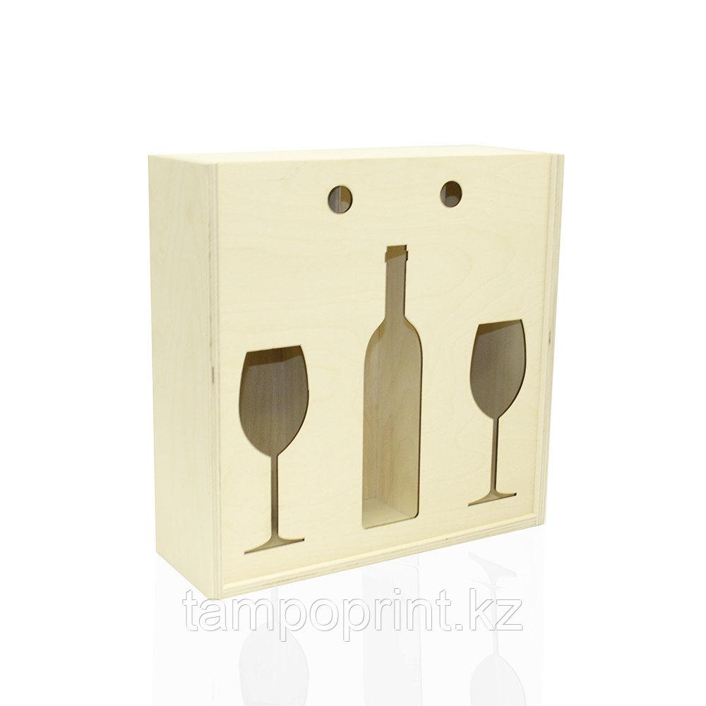 U-PK074 Деревянная упаковка для вина и бокала фанера