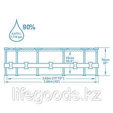 Каркасный бассейн круглый 366х76 см с фильтр-насосом, Bestway 56416, фото 3