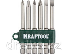 Набор бит для шуруповерта KRAFTOOL 26061-H6, хвостовик E 1/4, Cr-V, 75 мм, 6 предметов