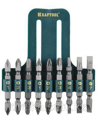 Набор бит для шуруповерта KRAFTOOL 26060-H10, биты двухсторонние, в пластиковом держателе, Cr-V, 9 предметов