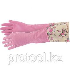 Перчатки хозяйственные латексные с манжетой, S Elfe