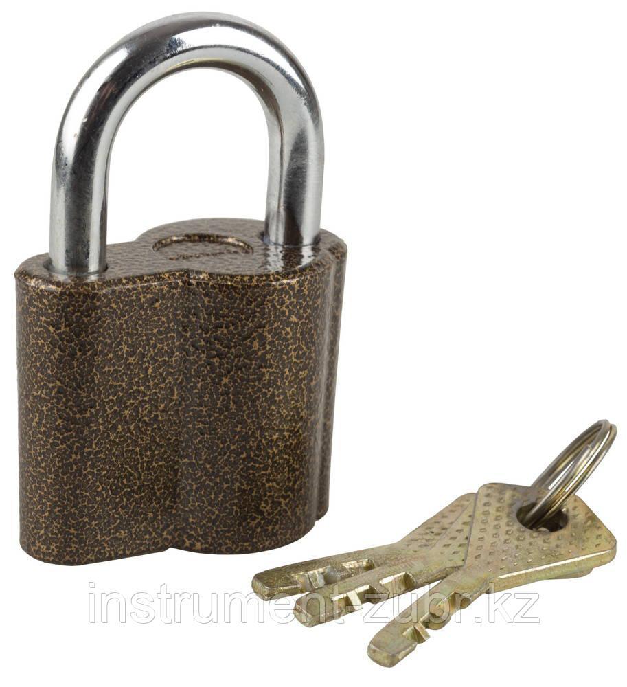 """Замок ЗУБР """"МАСТЕР"""" навесной, компактный корпус, дисковый механизм секрета, ключ 7 """"пинов, 48х41мм"""