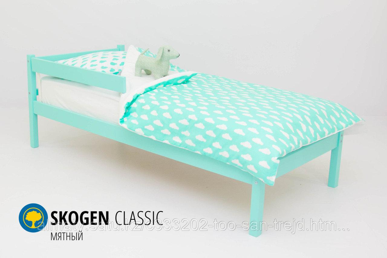 Детская кровать Бельмарко «Skogen classic мятный»+(Изголовье-крыша+бортик)