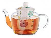 9273 FISSMAN Заварочный чайник CASABLANCA 1000 мл с керамическим фильтром и крышкой (стекло)