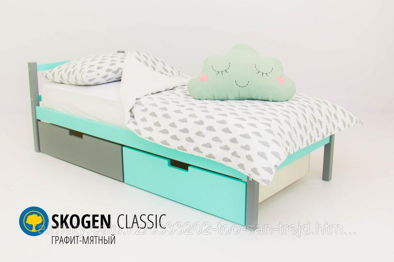 Детская кровать Бельмарко «Skogen classic Графит-Мятный»