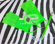 Набор для плавания (ласты, очки и дыхательная трубка) зеленый