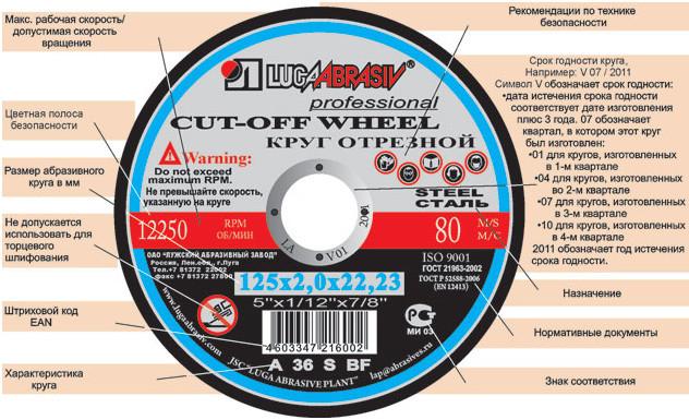 Диск Luga Abrasiv отрезной по металлу 230х2х22